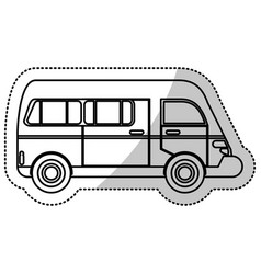 Van transport vehicle urban outline vector