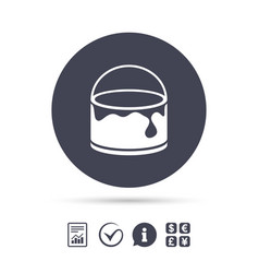 Bucket of paint icon painting works sign vector