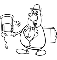 Salesman cartoon for coloring book vector