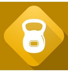 Icon of dumbbell with a long shadow vector