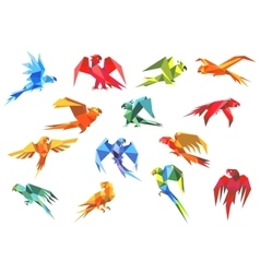 Origami paper models of parrots vector image