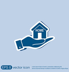 Hand holding a house icon home sign vector