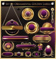 Golden framed labels vector