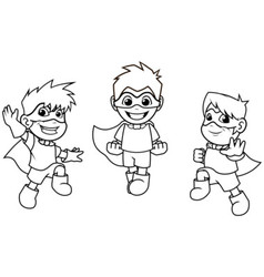 Kid super heroes flying pose outline vector