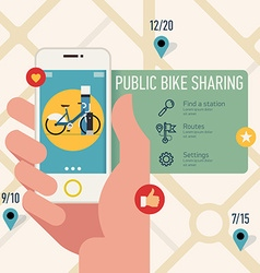 Public bike sharing on your android vector