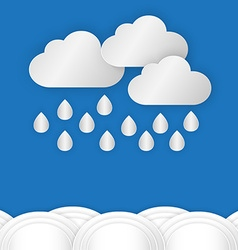 A cloud with rain drop over water or sea against vector image vector image