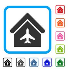 Aircraft hangar framed icon vector