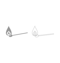 Burning match the grey set icon vector