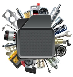 Car Mat with Car Spares vector image