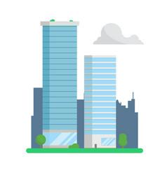 City skyscrapers on urban background flat design vector