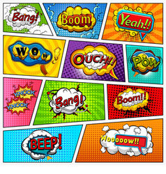 Comic book page background divided by lines vector image vector image