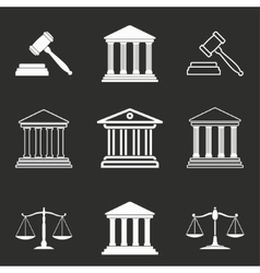Court icon set vector image vector image