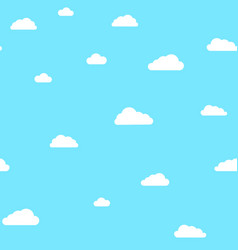 Cute clouds on blue sky pattern vector