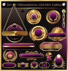 Golden framed labels vector