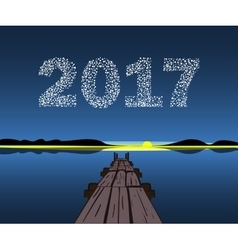 Happy New Year 2017 starburst dawn vector image