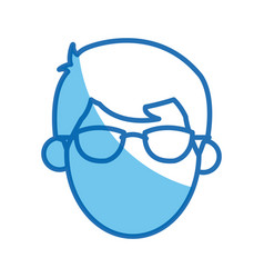 Head no face man character glasses blue outline vector