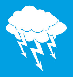 Lightning bolt icon white vector