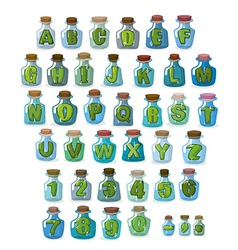 Magic font green letters in magical flasks vector