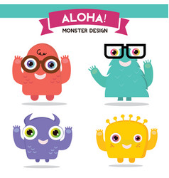 Monster cartoon set vector