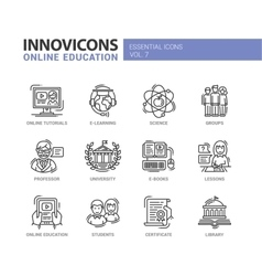Online education line design icons set vector