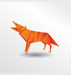 origami wolf vector image vector image