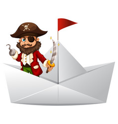Pirate with sword standing on paper boat vector