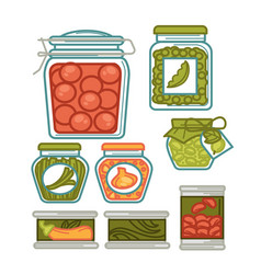 preserves in glass jars homemade vegetables vector image