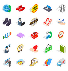 publicity icons set isometric style vector image
