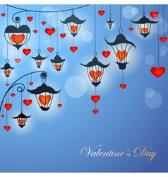 Romantic Valentine card with lanterns and hearts vector image vector image