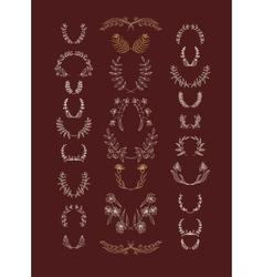 Set of symmetrical floral graphic design elements vector