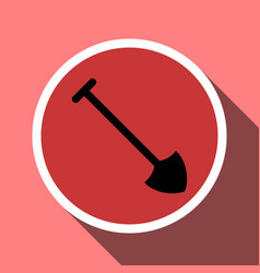 Shovel icon in a circle frame vector