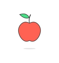 simple red apple icon with shadow vector image