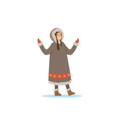Smiling eskimo inuit chukchi woman in vector