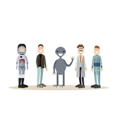space people flat icon set vector image