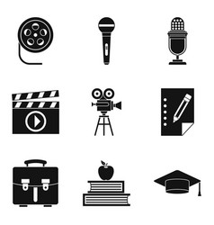 tu icons set simple style vector image vector image