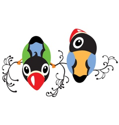 two cartoon birds vector image