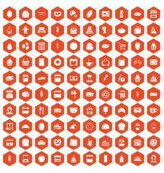 100 bakery icons hexagon orange vector