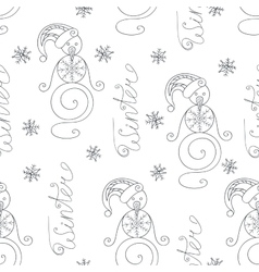 Winter seamless pattern with cute snowman vector