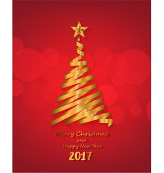 Gold ribbon make christmas tree shape vector