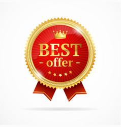 best offer sale label medal vector image