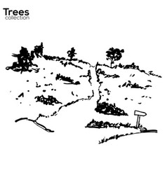 Trees collection ink landscape with trees vector