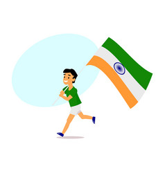 Cartoon indian boy running with big indian flag vector