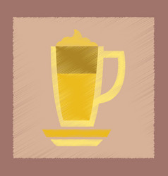 Flat shading style icon cup coffee latte vector