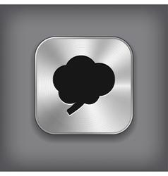 Brain icon - metal app button vector image
