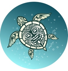 Swimming sea turtle with polynesian tribal pattern vector