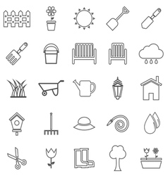 Gardening line icons on white background vector