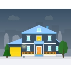 Big house with evening or night landscape vector