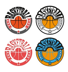 Basketball badges with stars vector