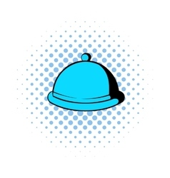Closed dish comics icon vector