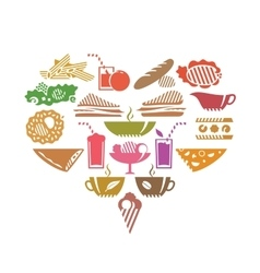 Foods and drinks in heart shape vector